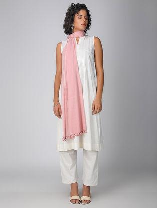 Pink Handloom Cotton Dupatta with Tassels