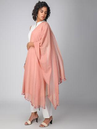Orange Handloom Cotton Dupatta with Tassels
