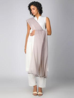 Beige Handloom Cotton Dupatta with Tassels