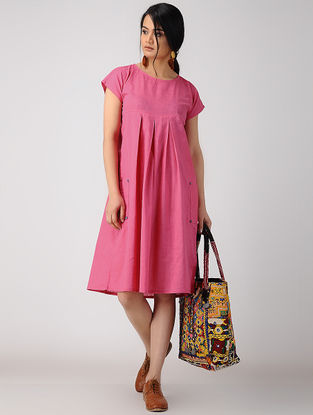 Pink Pleated Cotton Slub Dress with Pockets