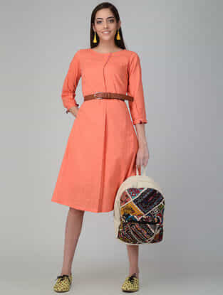 Orange Cotton Slub Dress with Pockets