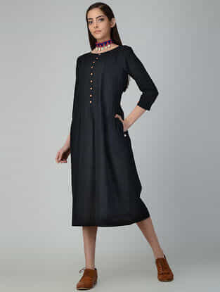 Black Pleated Cotton Slub Dress with Pockets