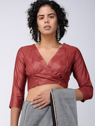 Red Silk Blouse with Buttons