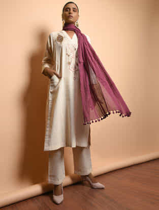 Ivory Cotton Khadi Embroidered Kurta with Pockets
