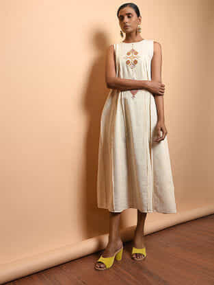 Ivory Cotton Khadi Embroidered Dress with Pleats