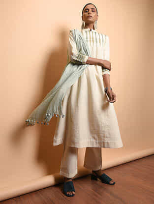 Ivory Cotton Khadi Embroidered Kurta