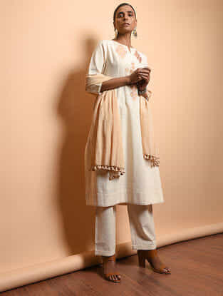 Ivory Cotton Khadi Embroidered Kurta with Gathers