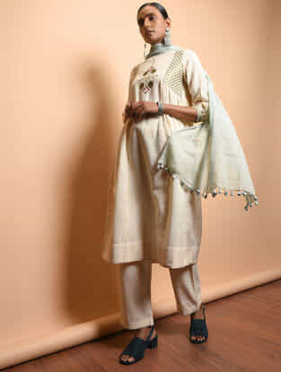 Ivory Cotton Khadi Embroidered Kurta with Gathers
