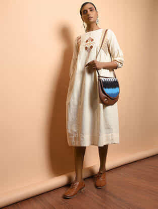 Ivory Cotton Khadi Embroidered Dress with Gathers