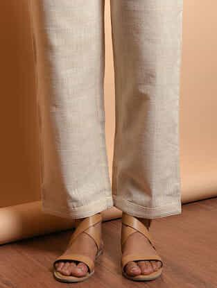 Ivory Tie-up Waist Cotton Khadi Pants