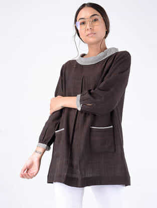 Black Handloom Cotton Top with Pockets