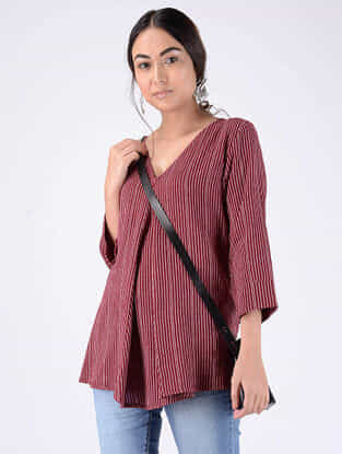 Red Handloom Cotton Top