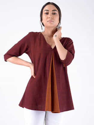 Maroon Handloom Cotton Top