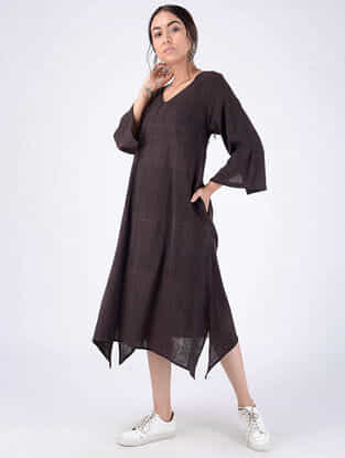 Black Handloom Cotton Dress with Pockets