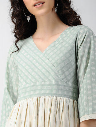 Green-Ivory Handloom Ikat Cotton Dress with Pockets