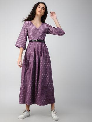 Purple Handloom Ikat Cotton Dress with Pockets