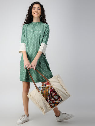 Green Handloom Ikat Cotton Dress with Smocking