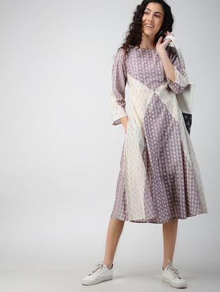 Purple-Ivory Handloom Ikat Cotton Dress with Pockets