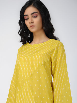 Yellow Handloom Ikat Cotton Dress with Pockets