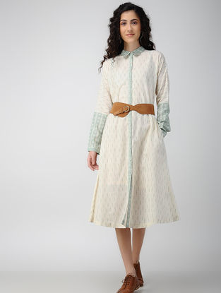 Ivory-Green Handloom Ikat Cotton Front-open Dress with Pockets