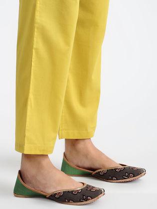 Yellow Elasticated-waist Cotton Pants