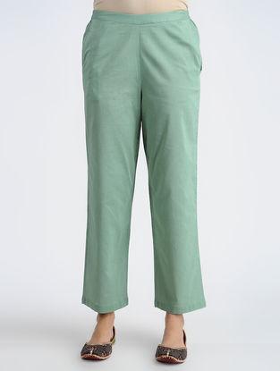 Green Elasticated-waist Cotton Pants