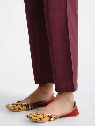 Wine Elasticated-waist Cotton Pants