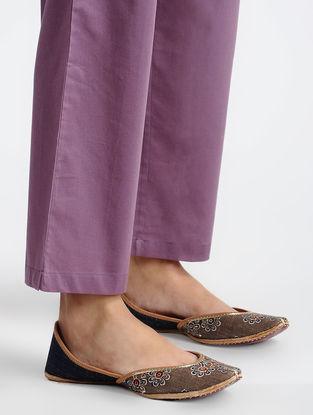 Purple Elasticated-waist Cotton Pants