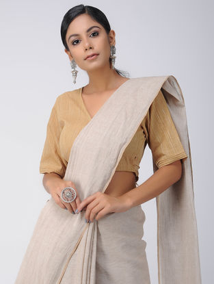 Beige Cotton Wrap Blouse
