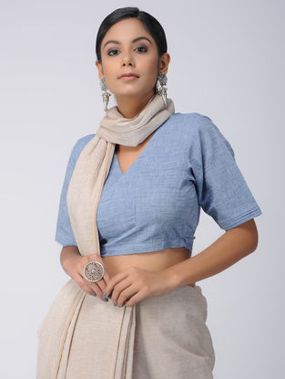 Blue Cotton Wrap Blouse