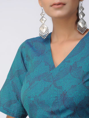 Blue Printed Cotton Wrap Blouse
