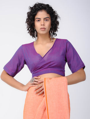 Purple Cotton Wrap Blouse