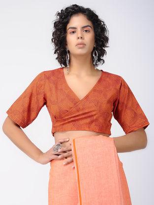 Orange Printed Cotton Wrap Blouse