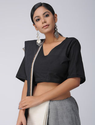 Black Cotton Wrap Blouse