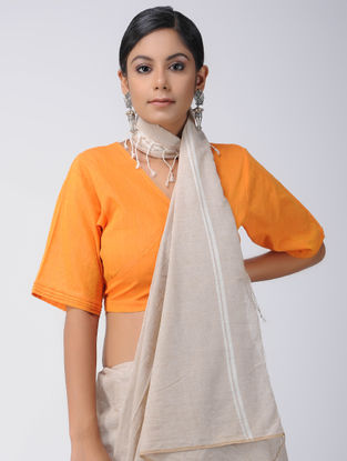 Orange Cotton Wrap Blouse
