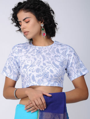 White-Blue Printed Cotton Blouse