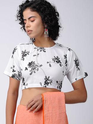 White-Black Printed Cotton Blouse
