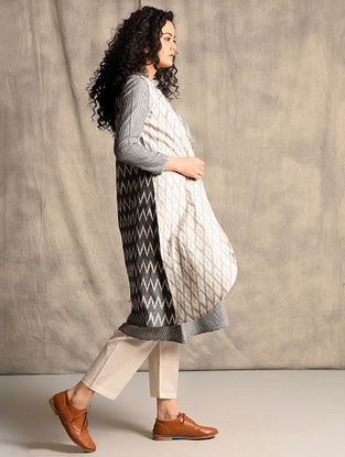 Ivory-Black Handloom Ikat Cotton Jacket