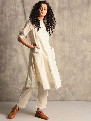 Ivory Front-open Handloom Cotton Kurta with Pockets