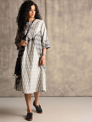 Ivory-Black Handloom Ikat Cotton Belt Dress