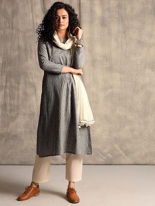 Black Handloom Cotton Kurta with Pockets