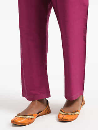 Pink Tie-Up Waist Silk Cotton Pants