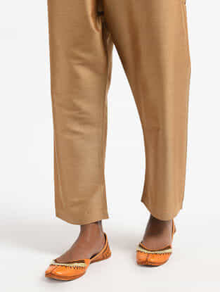 Beige Tie-Up Waist Silk Cotton Pants