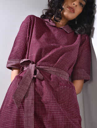 Maroon Handloom Cotton Dress