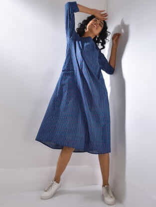 Blue-Red Handloom Cotton Dress