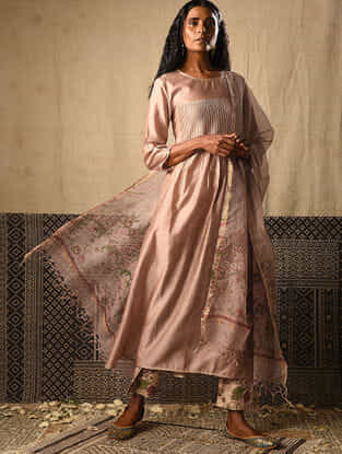 Beige Chanderi Kurta with Pintucks