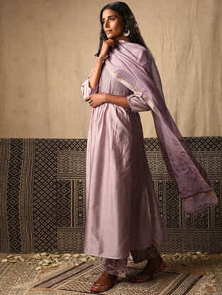 Lilac Chanderi Kurta with Pintucks