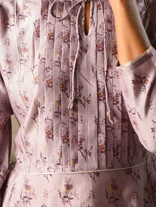 Lilac Khari Printed Chanderi Kurta with Pleats