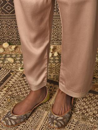 Beige Tie-up Waist Satin Modal Pants