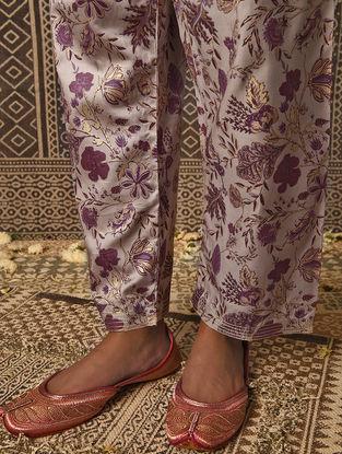 Lilac Tie-up Waist Khari Printed Satin Modal Pants